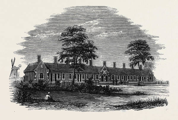 Old Style Drawing - New Almshouses At Old Buckenham Near Attleborough Norfolk by English School