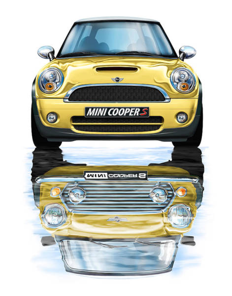Mini Cooper Wall Art - Digital Art - New Bmw Mini Cooper S Yellow by David Kyte