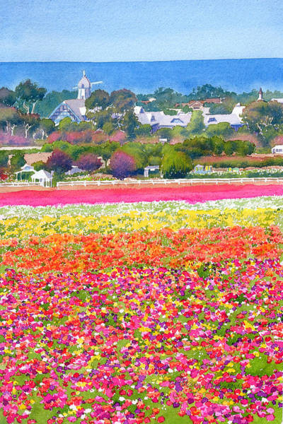 California Landscape Painting - New Carlsbad Flower Fields by Mary Helmreich