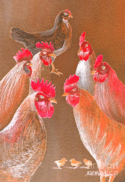 Roost Painting - New Chick On The Block-reds by Bill Holkham