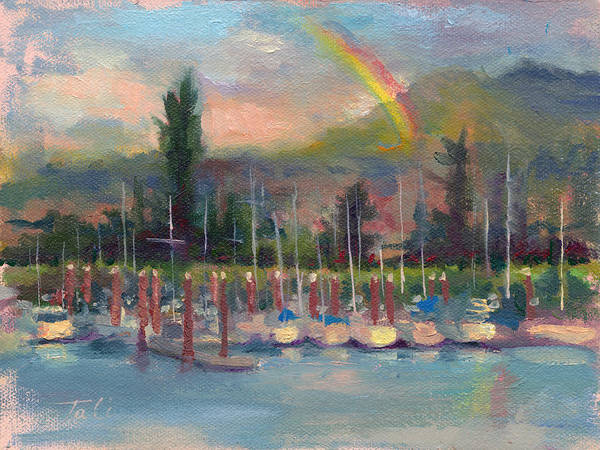 Painting - New Covenant - Rainbow Over Marina by Talya Johnson