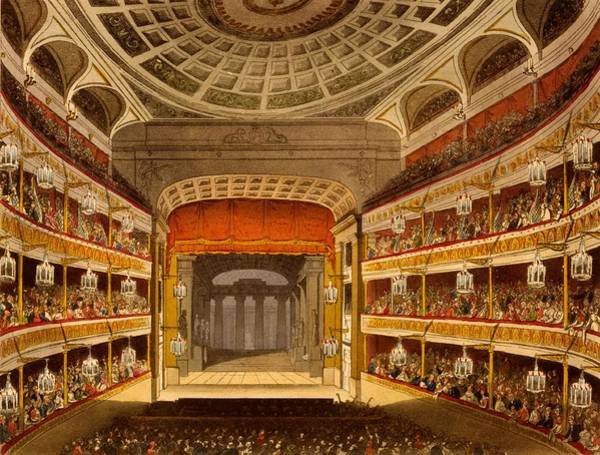 Balcony Drawing - New Covent Garden Theatre by T. & Pugin, A.C. Rowlandson