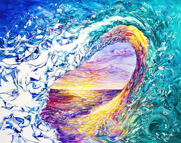 Wave Breaking Painting - New Dawn 3 by Susan Card