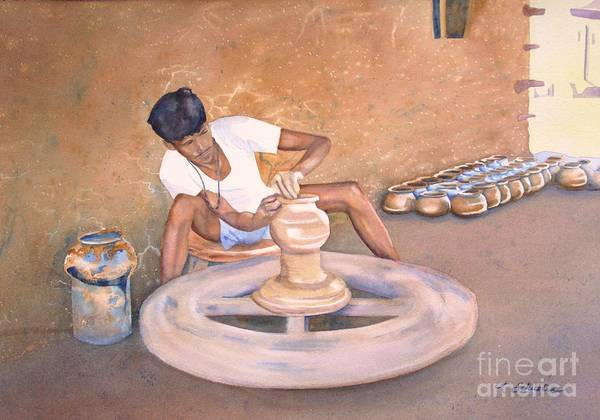 Potters Wheel Wall Art - Painting - New Dehli Clay by Amanda Schuster