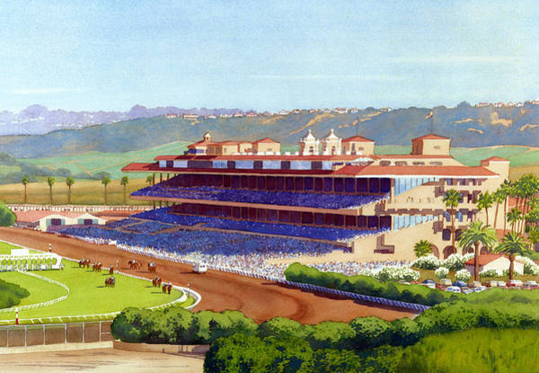 Tracks Wall Art - Painting - New Del Mar Racetrack by Mary Helmreich