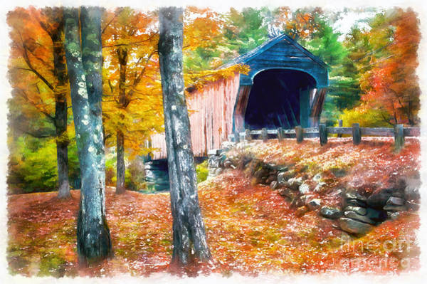 Photograph - New England Covered Bridge Watercolor 2 by Edward Fielding