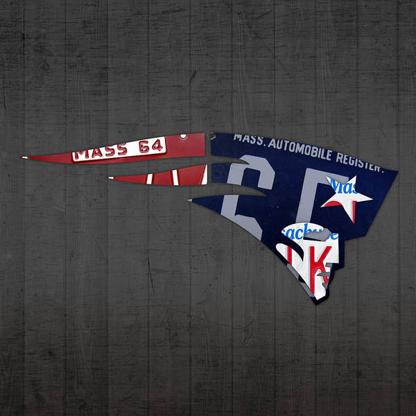 Wall Art - Mixed Media - New England Patriots Football Team Retro Logo Massachusetts License Plate Art by Design Turnpike