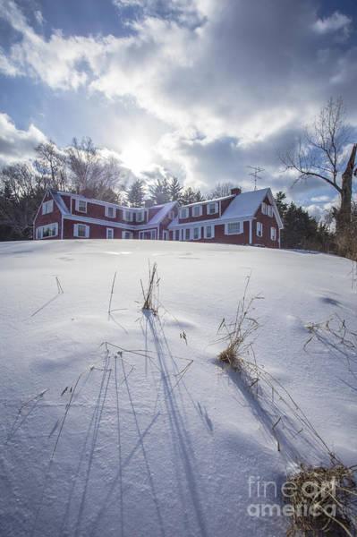 New England Red Farm House Winter Art Print