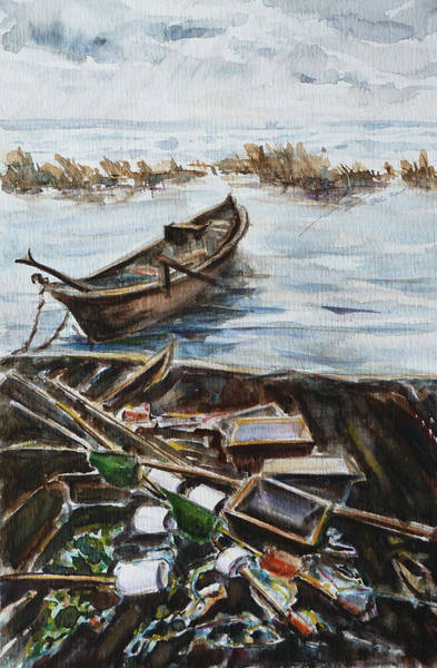 Painting - New England Wharf by Xueling Zou