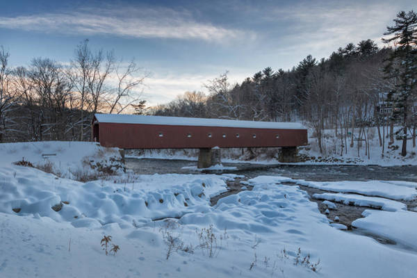 Photograph - New England Winter Covered Bridge by Bill Wakeley