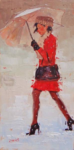 Red Dress Wall Art - Painting - New Fur Hat by Laura Lee Zanghetti