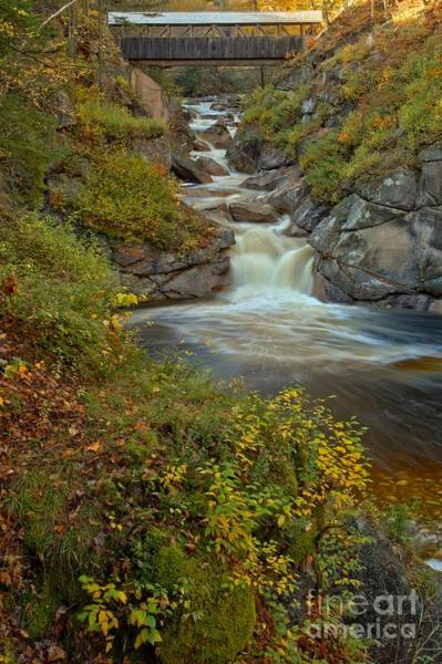 Photograph - New Hampshire Covered Bridge Gorge by Adam Jewell