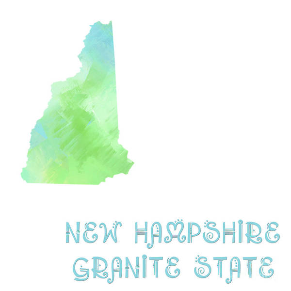 Granite State Digital Art - New Hampshire - Granite State - Map - State Phrase - Geology by Andee Design