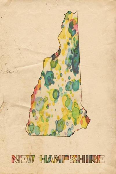 Painting - New Hampshire Map Vintage Watercolor by Florian Rodarte