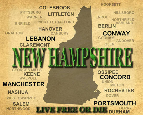 Ossipee Wall Art - Photograph - New Hampshire State Pride Map Silhouette  by Keith Webber Jr