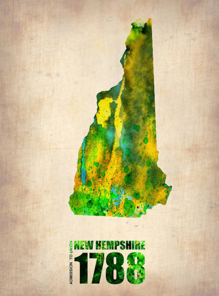 New Home Painting - New Hampshire Watercolor Map by Naxart Studio