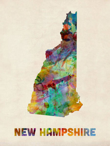 New Hampshire Wall Art - Digital Art - New Hampshire Watercolor Map by Michael Tompsett