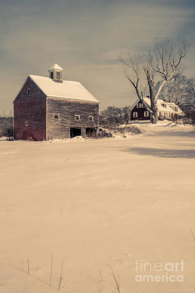 Photograph - New Hampshire Winter Farm Scene by Edward Fielding