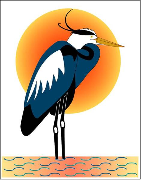 Great Blue Heron Drawing - New Heron Standing With Sun by Fred Croydon