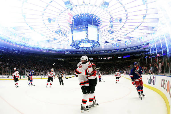 Nhl Players Photograph - New Jersey Devils V New York Rangers - by Bruce Bennett