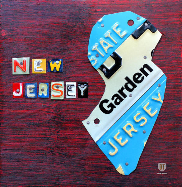 New Jersey Mixed Media - New Jersey License Plate Map by Design Turnpike