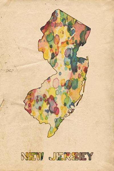 Painting - New Jersey Map Vintage Watercolor by Florian Rodarte