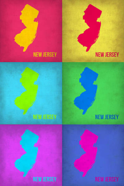 Wall Art - Painting - New Jersey Pop Art Map 1 by Naxart Studio
