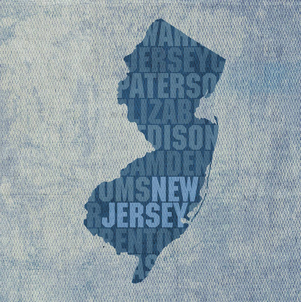 New Jersey Mixed Media - New Jersey Word Art State Map On Canvas by Design Turnpike