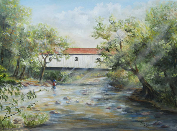 Painting - New Jersey's Last Covered Bridge by Katalin Luczay