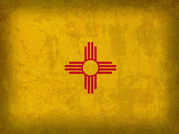 Wall Art - Mixed Media - New Mexico State Flag Art On Worn Canvas by Design Turnpike