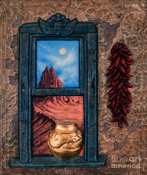 Stucco Wall Art - Mixed Media - New Mexico Window Gold by Ricardo Chavez-Mendez
