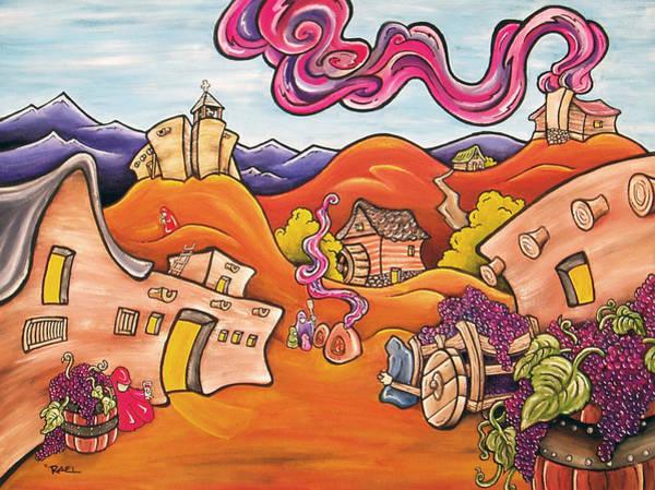 Spanish Wine Painting - Santa Fe Wine Festival by Robb Rael