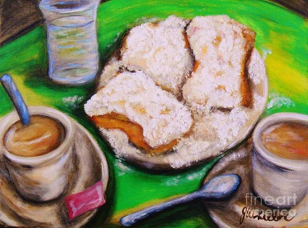 Doughnut Painting - New Orleans Breakfast by JoAnn Wheeler