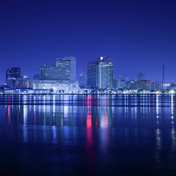 Louisiana Photograph - New Orleans By Night Skyline by Moreiso