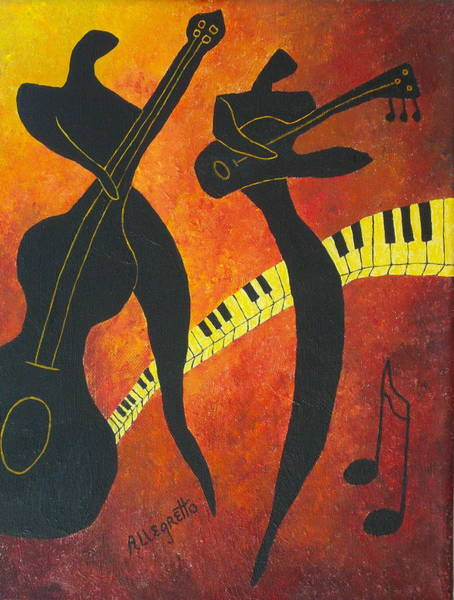 Piano Player Painting - New Orleans Jazz by Pamela Allegretto