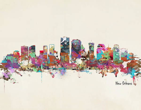 New Orleans Wall Art - Painting - New Orleans Louisiana Skyline by Bri Buckley