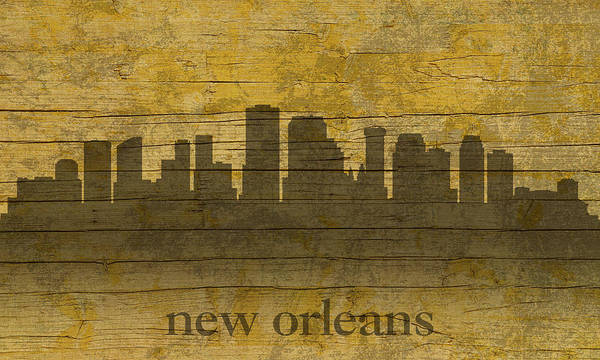Mardi Gras Wall Art - Mixed Media - New Orleans Louisiana Skyline Silhouette Distressed On Worn Peeling Wood by Design Turnpike