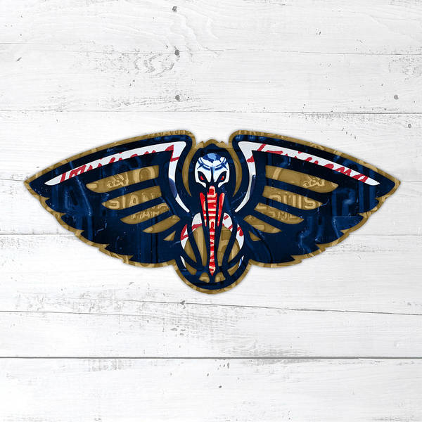 Pelican Wall Art - Mixed Media - New Orleans Pelicans Basketball Team Retro Logo Vintage Recycled Louisiana License Plate Art by Design Turnpike