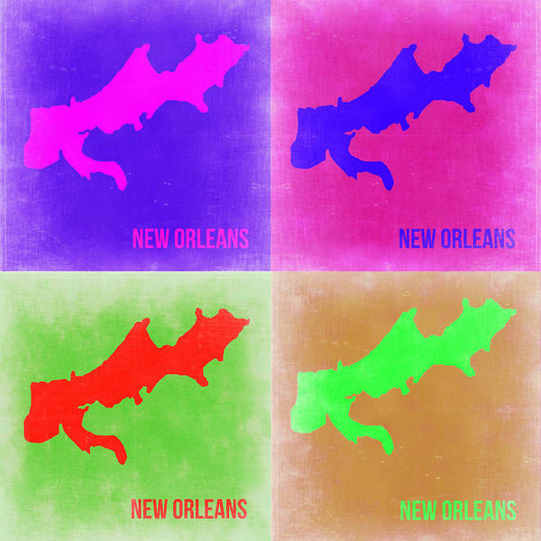 Wall Art - Painting - New Orleans Pop Art Map 2 by Naxart Studio