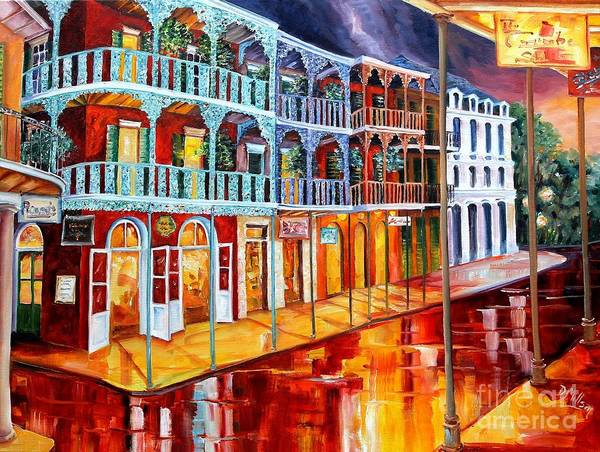 French Quarter Painting - New Orleans Reflections In Red by Diane Millsap