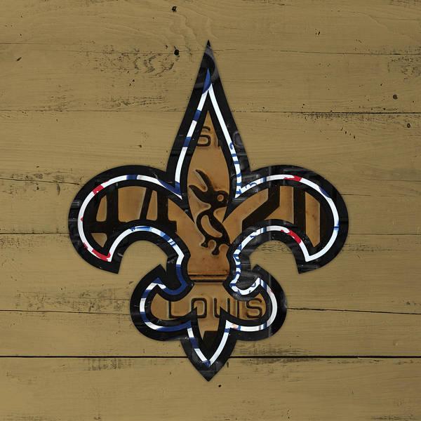 Catholic Mixed Media - New Orleans Saints Football Team Retro Logo Louisiana License Plate Art by Design Turnpike