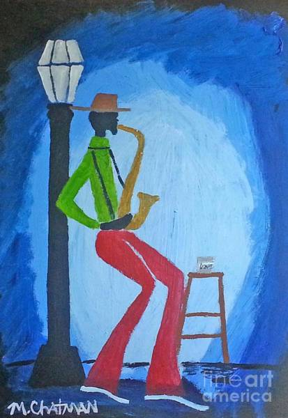Sax Painting - New Orleans Sax Man by Michael Chatman