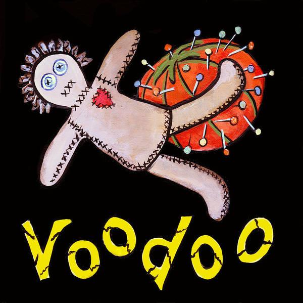 Voodoo Doll Painting - New Orleans Voodoo Black by Elaine Hodges