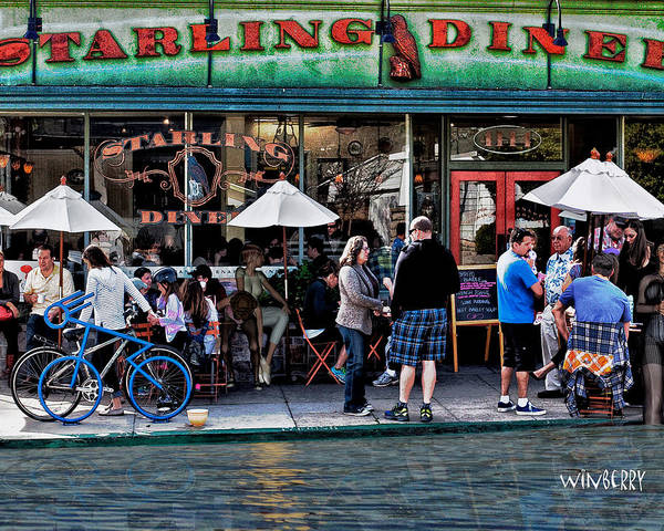 Digital Art - People Are Flooding To The Starling Diner by Bob Winberry