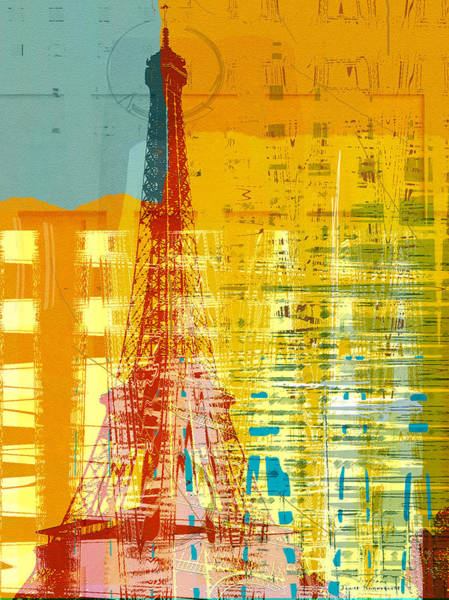 Semi Abstract Drawing - New Paint - Paris Eifel I by MGL Meiklejohn Graphics Licensing