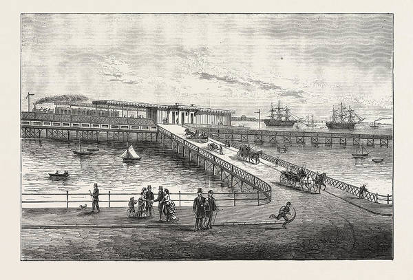 Railroad Station Drawing - New Pier And Railway Station, For Portsmouth Harbour by English School