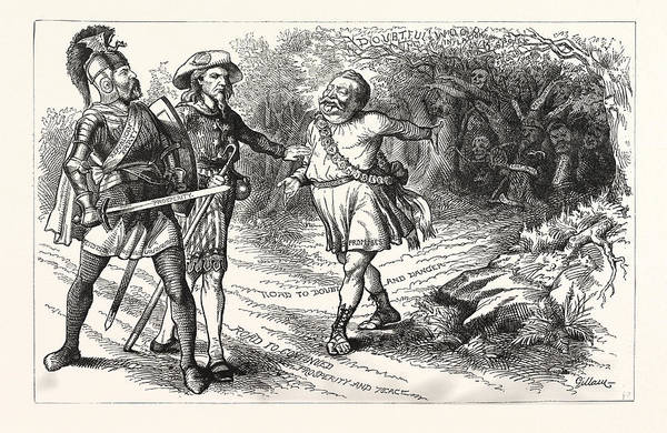 Early American History Drawing - New Pilgrims Progress, Engraving 1880 by American School