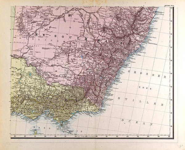 New South Wales Drawing - New South Wales Gotha Justus Perthes 1872 Atlas by English School