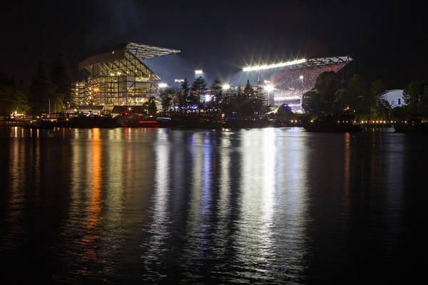 University Of Washington Wall Art - Photograph - New Husky Stadium Reflection by Max Waugh