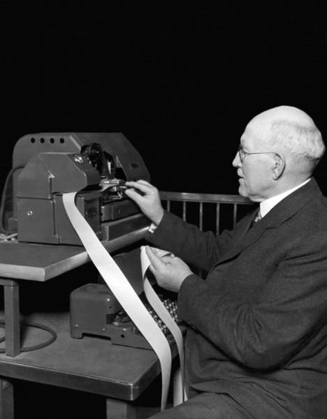 65 Photograph - New Ticker Tape Machine by Underwood Archives